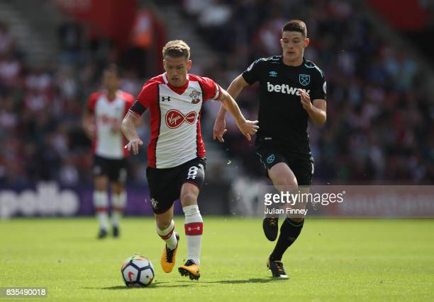 Steven Davis of Southampton in action during the Premier League match between Southampton and West Ham United at St Mary's Stadium on August 19 2017...