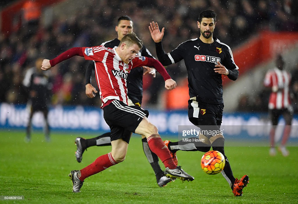 Steven Davis of Southampton scores a disallowed goal as he was offside during the Barclays Premier League match between Southampton and Watford at St. Mary's Stadium on January 13, 2016 in Southampton, England.