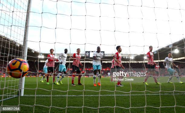 Steven Davis of Southampton scores a goal for West Ham Uniteds third goal during the Premier League match between Southampton and West Ham United at...