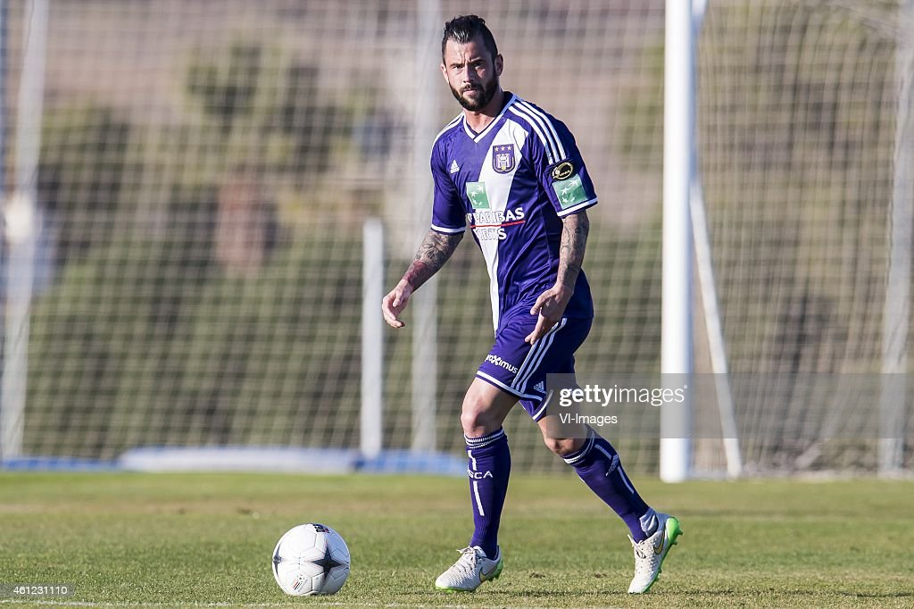 <a gi-track='captionPersonalityLinkClicked' href=/galleries/search?phrase=Steven+Defour&family=editorial&specificpeople=5733692 ng-click='$event.stopPropagation()'>Steven Defour</a> of Anderlecht during the International friendly match between Vitesse Arnhem and RSC Anderlecht on January 9, 2015 at Alicante, Spain.