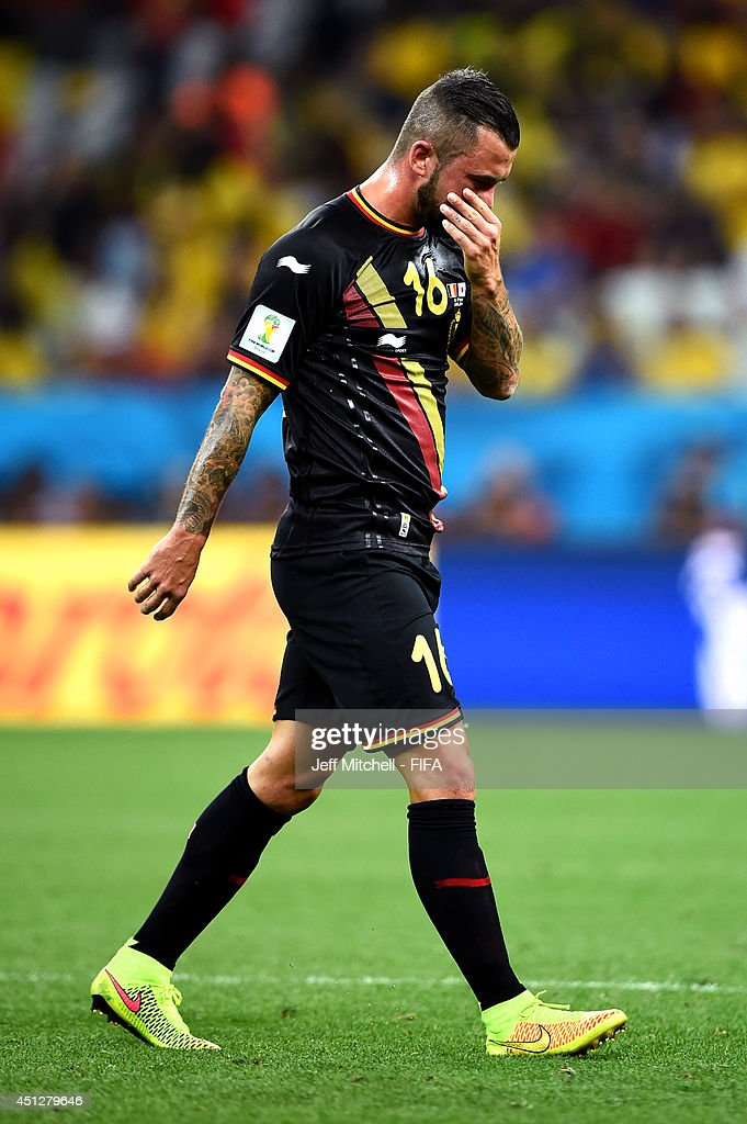 Steven Defour of Belgium of Belgium walks off the pitch as he receives a red card during the 2014 FIFA World Cup Brazil Group H match between Korea...