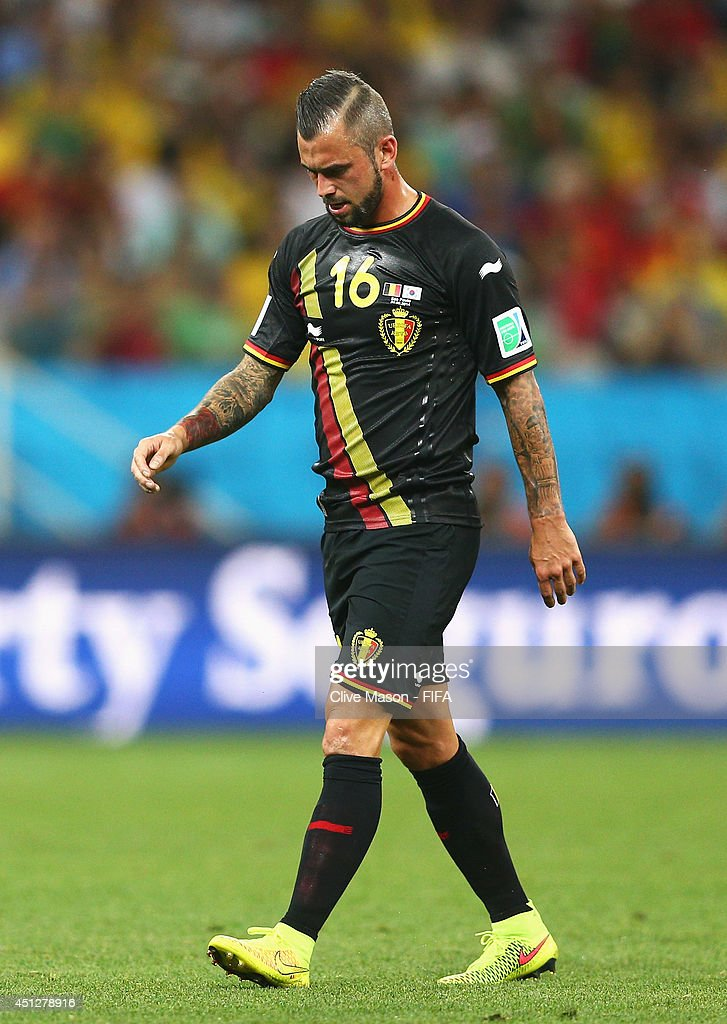 <a gi-track='captionPersonalityLinkClicked' href=/galleries/search?phrase=Steven+Defour&family=editorial&specificpeople=5733692 ng-click='$event.stopPropagation()'>Steven Defour</a> of Belgium walks off the pitch as he receives a read card during the 2014 FIFA World Cup Brazil Group H match between Korea Republic and Belgium at Arena de Sao Paulo on June 26, 2014 in Sao Paulo, Brazil.