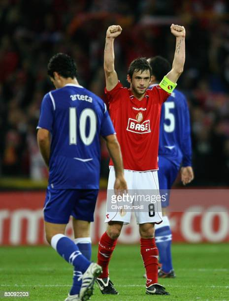 Steven Defour of Standard Liege celebrates on the final whistle after victory in the UEFA Cup first round second leg match between Standard Liege and...