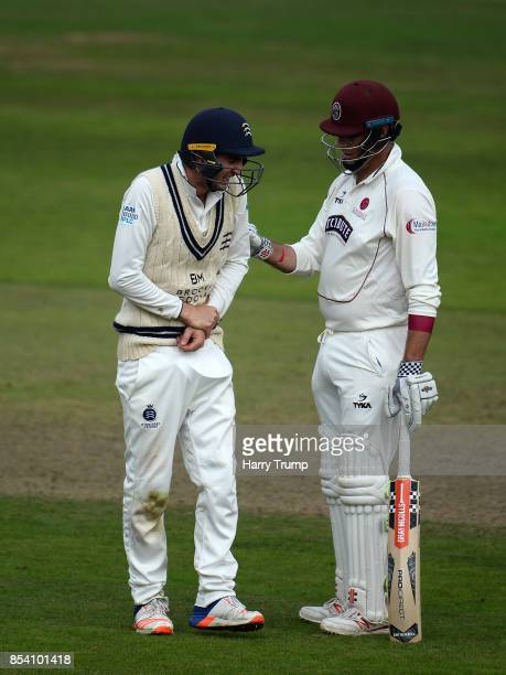 Steven Eskinazi of Middlesex is comforted by Marcus Trescothick of Somerset after he is hit by the ball during Day Two of the Specsavers County...