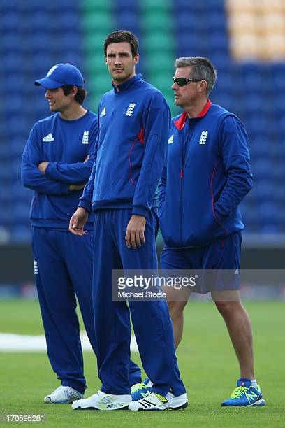 Steven Finn alongside England captain Alastair Cook and head coach Ashley Giles during the England nets session at the SWALEC Stadium on June 15 2013...