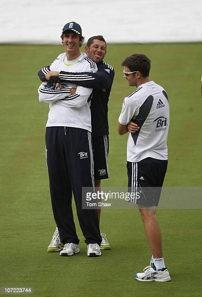 Steven Finn and Tim Bresnan of England pull a funny face at James Anderson during an England training session at Adelaide Oval on December 1 2010 in...