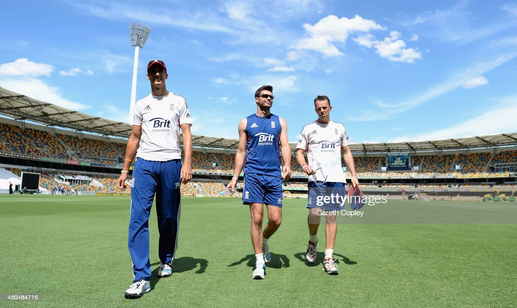 Steven Finn, James Anderson and <a gi-track='captionPersonalityLinkClicked' href=/galleries/search?phrase=Graeme+Swann&family=editorial&specificpeople=578767 ng-click='$event.stopPropagation()'>Graeme Swann</a> of England walk to the nets during an England nets session at The Gabba on November 19, 2013 in Brisbane, Australia.