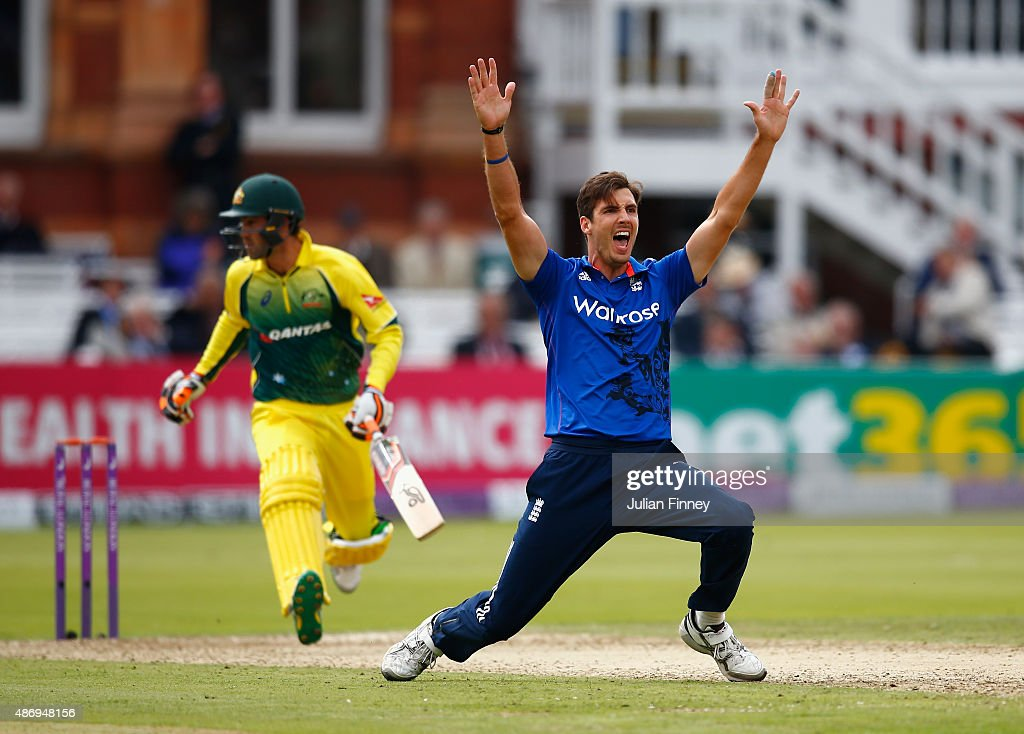 Steven Finn of England appeals successfully for taking the wicket of Glenn Maxwell of Australia during the 2nd Royal London One-Day International match between England and Australia at Lord's Cricket Ground on September 5, 2015 in London, United Kingdom.