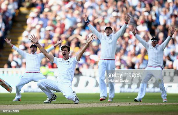 Steven Finn of England appeals unsuccessfully for the wicket of Mitchell Marsh during day two of the 3rd Investec Ashes Test match between England...