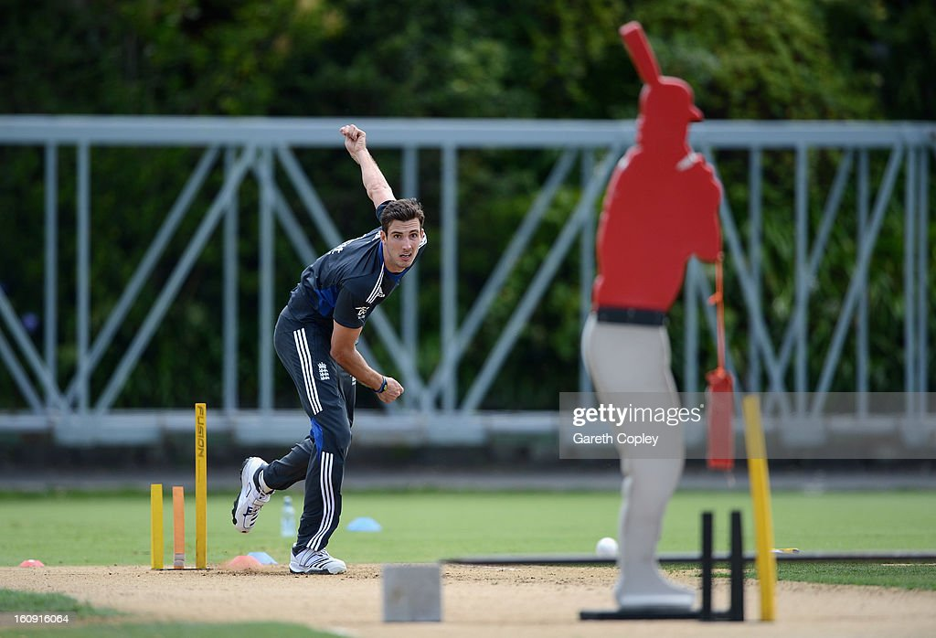 Steven Finn of England bowls during an England nets session at Eden Park on February 8, 2013 in Auckland, New Zealand.