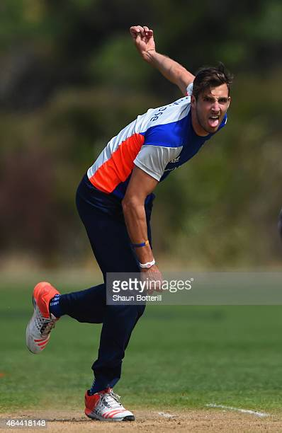 Steven Finn of England bowls during an England nets session at Karori Park on February 26 2015 in Wellington New Zealand