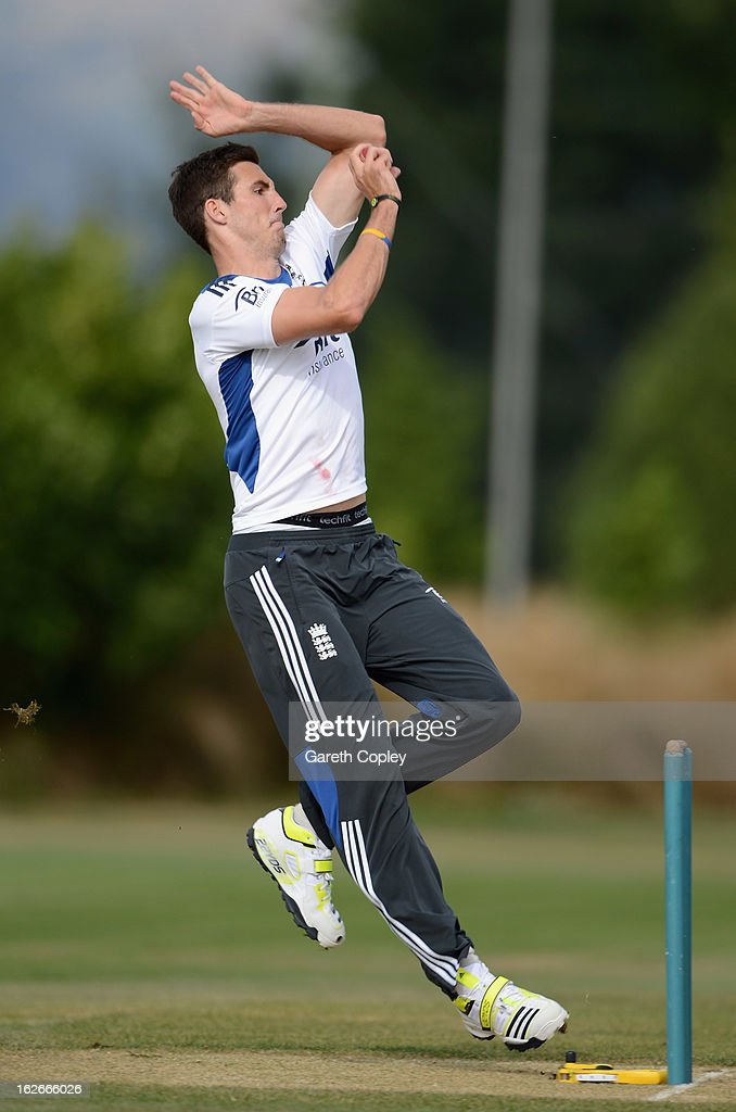 Steven Finn of England bowls during an England nets session at Queenstown Events Centre on February 26, 2013 in Queenstown, New Zealand.