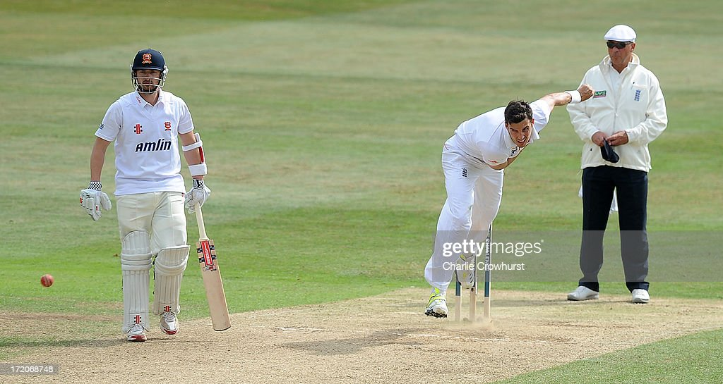 Steven Finn of England bowls during the LV=Challenge Day 2 match between Essex and England at Ford County Ground on July 01, 2013 in Chelmsford, England.