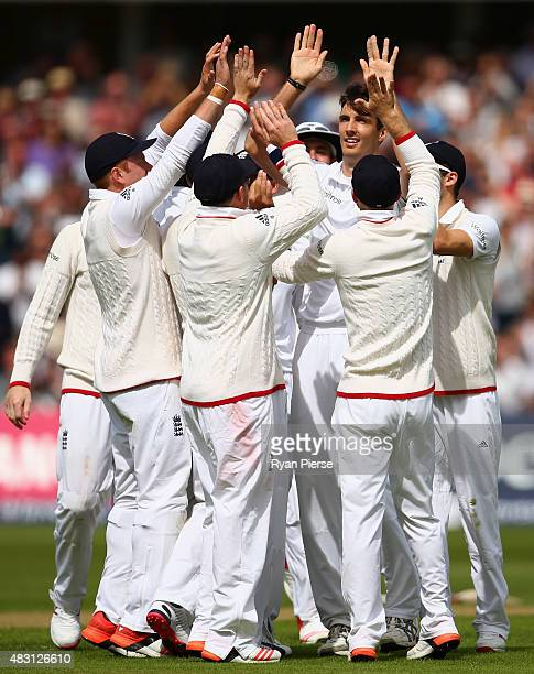 Steven Finn of England celebrates after taking the wicket of Peter Nevill of Australia during day one of the 4th Investec Ashes Test match between...