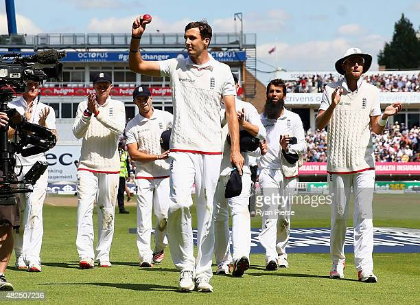 Steven Finn of England celebrates as he leaves the ground after claiming 6 wickets during day three of the 3rd Investec Ashes Test match between...