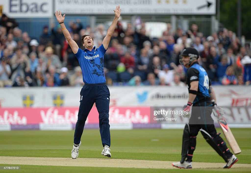 <a gi-track='captionPersonalityLinkClicked' href=/galleries/search?phrase=Steven+Finn+-+Cricketer&family=editorial&specificpeople=7843917 ng-click='$event.stopPropagation()'>Steven Finn</a> of England celebrates bowling <a gi-track='captionPersonalityLinkClicked' href=/galleries/search?phrase=Brendon+McCullum&family=editorial&specificpeople=208154 ng-click='$event.stopPropagation()'>Brendon McCullum</a> of New Zealand during the 5th ODI Royal London One-Day match between England and New Zealand at Emirates Durham ICG on June 20, 2015 in Chester-le-Street, England.