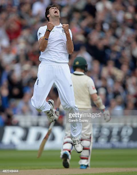 Steven Finn of England celebrates dismissing Steven Smith of Australia during day one of the 3rd Investec Ashes Test match between England and...