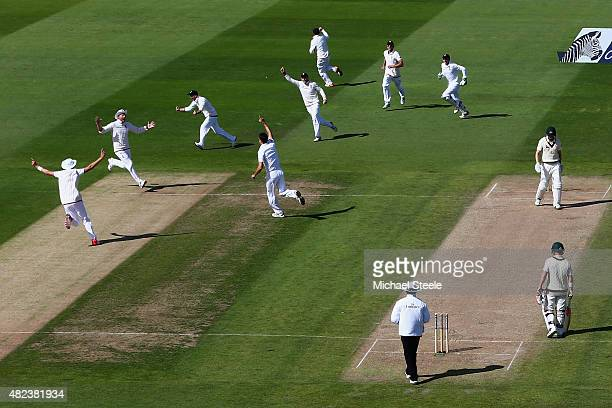 Steven Finn of England celebrates taking the wicket of Adam Voges of Australia during day two of the 3rd Investec Ashes Test match between England...