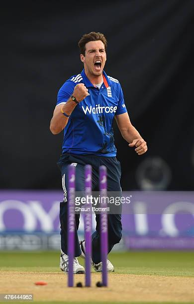 Steven Finn of England celebrates taking the wicket of Brendon McCullum of New Zealand during the 1st ODI Royal London OneDay Series 2015 match...