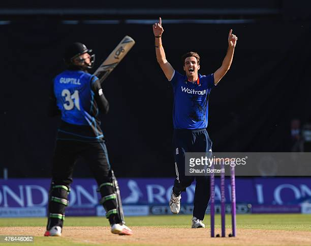 Steven Finn of England celebrates taking the wicket of Martin Guptil of New Zealand during the 1st ODI Royal London OneDay Series 2015 match between...