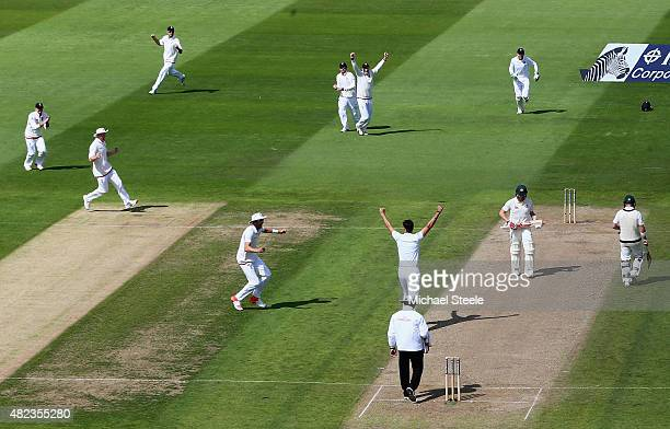 Steven Finn of England celebrates taking the wicket of Steve Smith of Australia during day two of the 3rd Investec Ashes Test match between England...