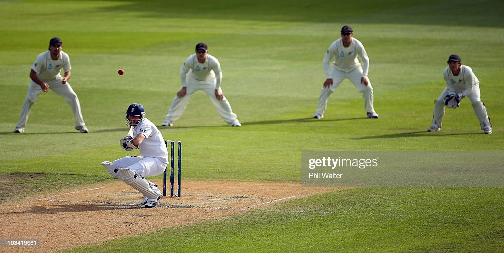 Steven Finn of England ducks a delivery from Trent Boult of New Zealand during day five of the First Test match between New Zealand and England at University Oval on March 10, 2013 in Dunedin, New Zealand.