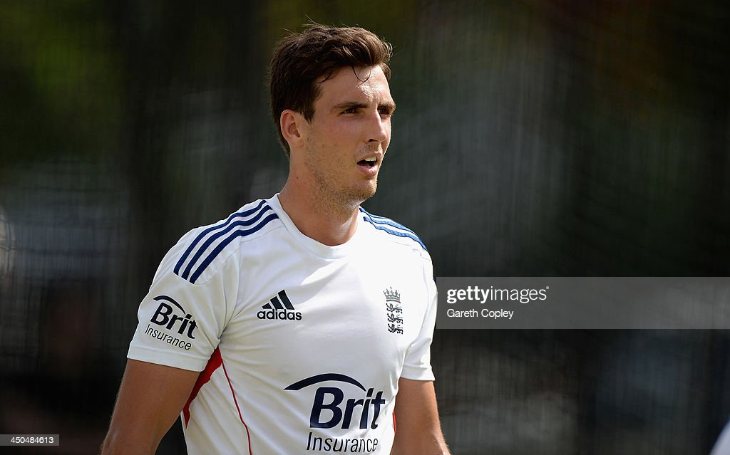 Steven Finn of England during an England nets session at The Gabba on November 19, 2013 in Brisbane, Australia.