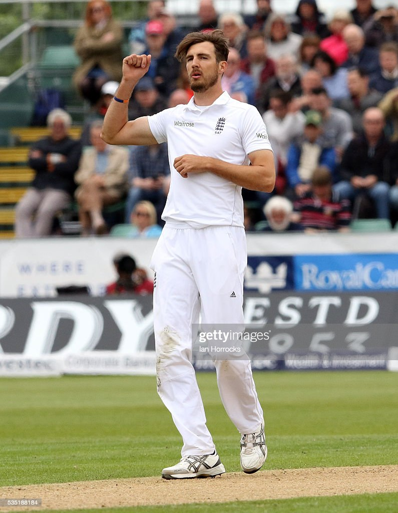 Steven Finn of England during day three of the 2nd Investec Test match between England and Sri Lanka at Emirates Durham ICG on May 29, 2016 in Chester-le-Street, United Kingdom.