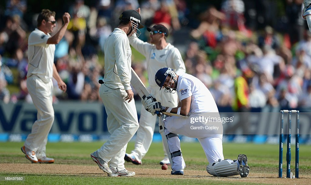 Steven Finn of England hangs his head after being dismissed by Bruce Martin of New Zealand during day five of the First Test match between New Zealand and England at University Oval on March 10, 2013 in Dunedin, New Zealand.