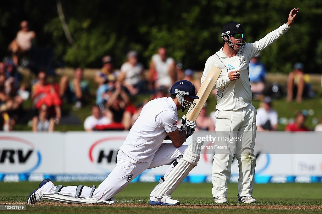 Steven Finn of England is bowled out lbw during day five of the First Test match between New Zealand and England at University Oval on March 10, 2013 in Dunedin, New Zealand.
