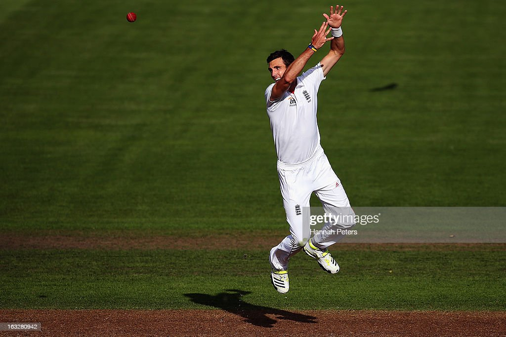 Steven Finn of England misses the ball during day two of the First Test match between New Zealand and England at University Oval on March 7, 2013 in Dunedin, New Zealand.