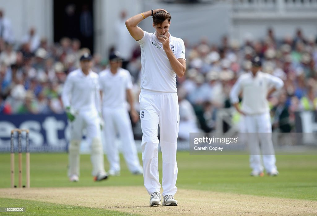 <a gi-track='captionPersonalityLinkClicked' href=/galleries/search?phrase=Steven+Finn+-+Cricketer&family=editorial&specificpeople=7843917 ng-click='$event.stopPropagation()'>Steven Finn</a> of England reacts after bowling during day two of the 4th Investec Ashes Test match between England and Australia at Trent Bridge on August 7, 2015 in Nottingham, United Kingdom.