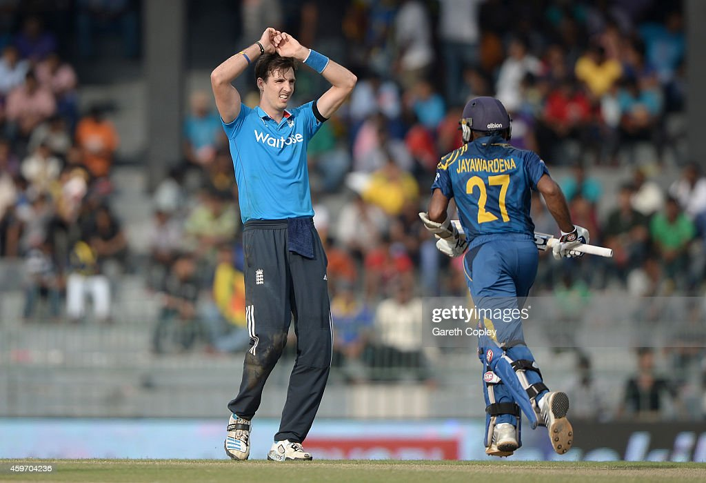 <a gi-track='captionPersonalityLinkClicked' href=/galleries/search?phrase=Steven+Finn+-+Cricketer&family=editorial&specificpeople=7843917 ng-click='$event.stopPropagation()'>Steven Finn</a> of England reacts after bowling during the 2nd One Day International match between Sri Lanka and England at R. Premadasa Stadium on November 29, 2014 in Colombo, Sri Lanka.