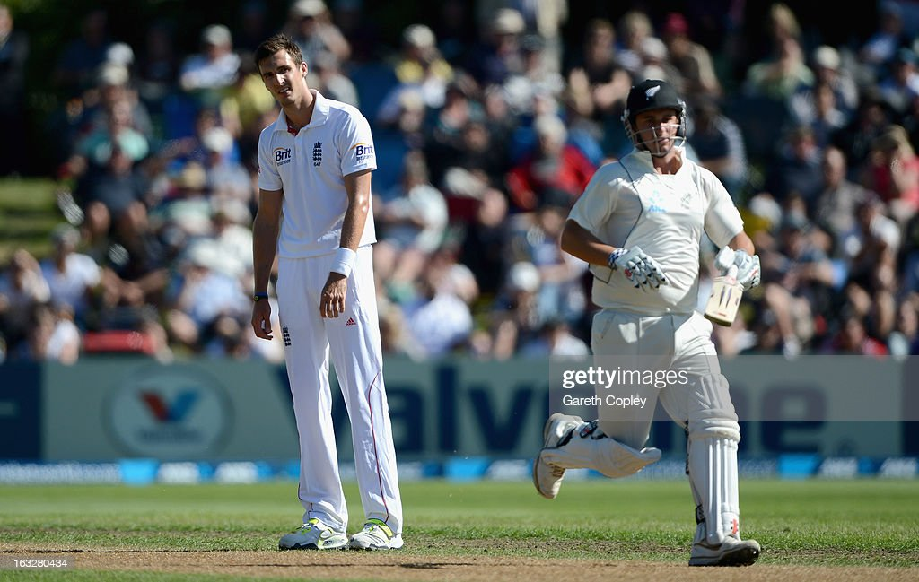Steven Finn of England reacts during day two of the First Test match between New Zealand and England at University Oval on March 7, 2013 in Dunedin, New Zealand.