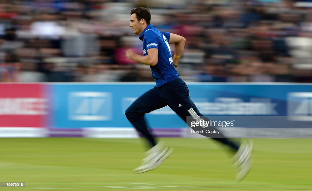 <a gi-track='captionPersonalityLinkClicked' href=/galleries/search?phrase=Steven+Finn+-+Cricketer&family=editorial&specificpeople=7843917 ng-click='$event.stopPropagation()'>Steven Finn</a> of England runs into bowl during the 2nd Royal London One-Day International match between England and Australia at Lord's Cricket Ground on September 5, 2015 in London, United Kingdom.