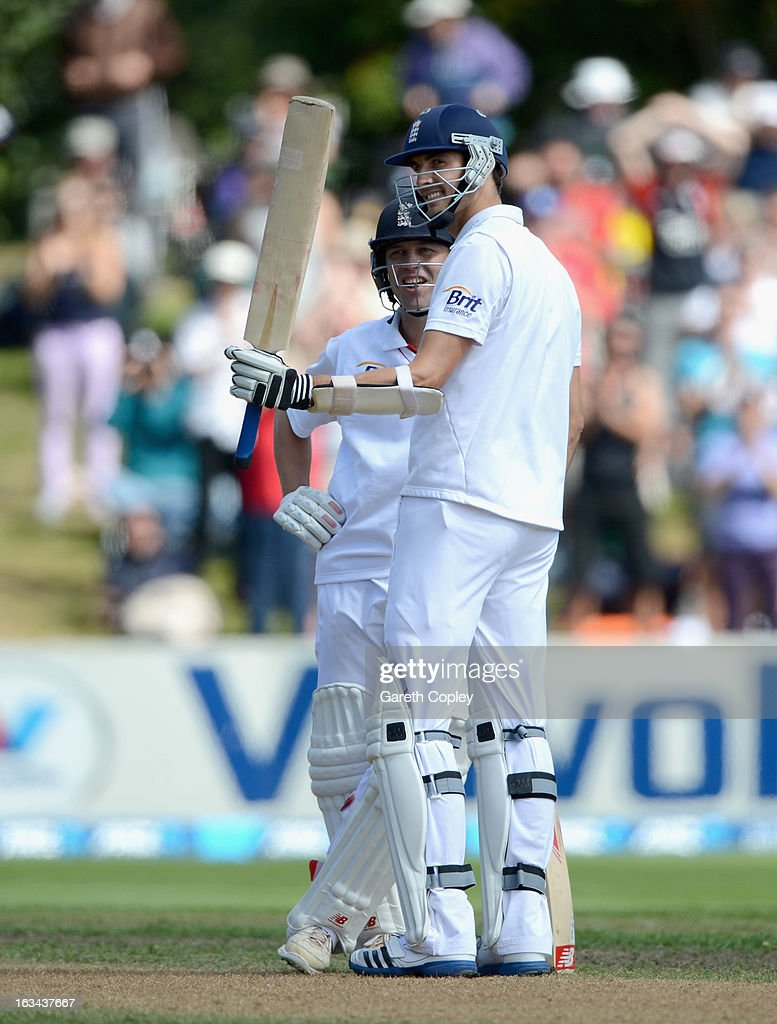 Steven Finn of England salutes the crowd after reaching his half century during day five of the First Test match between New Zealand and England at University Oval on March 10, 2013 in Dunedin, New Zealand.