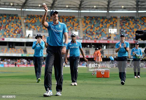 Steven Finn of England salutes the crowd as he leaves the field after taking 5 wickets during the One Day International match between England and...