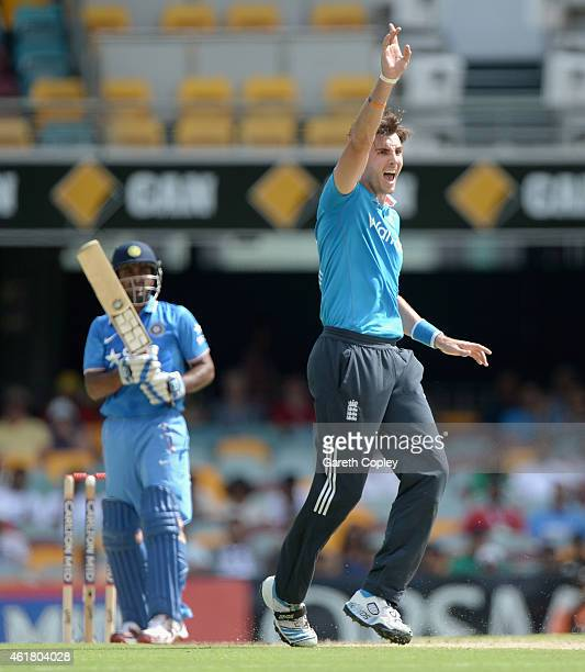 Steven Finn of England succesfully appeals for the wicket of Ambati Rayudu of India during the One Day International match between England and India...