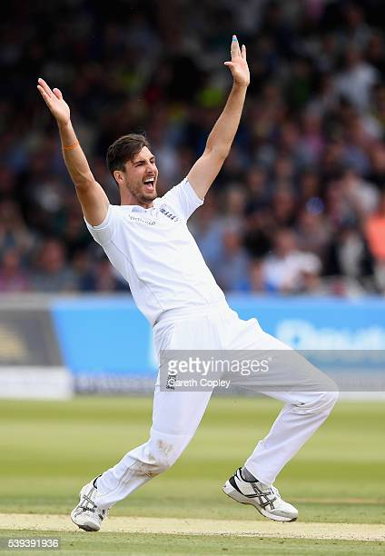 Steven Finn of England successfully appeals for the wicket of Dinesh Chandimal of Sri Lanka during day three of the 3rd Investec Test match between...