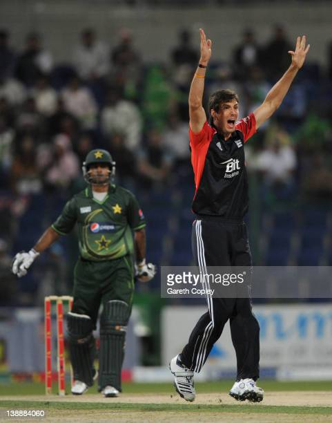 Steven Finn of England successfully appeals for the wicket of Mohammad Hafeez of Pakistan during the 1st One Day International between Pakistan and...