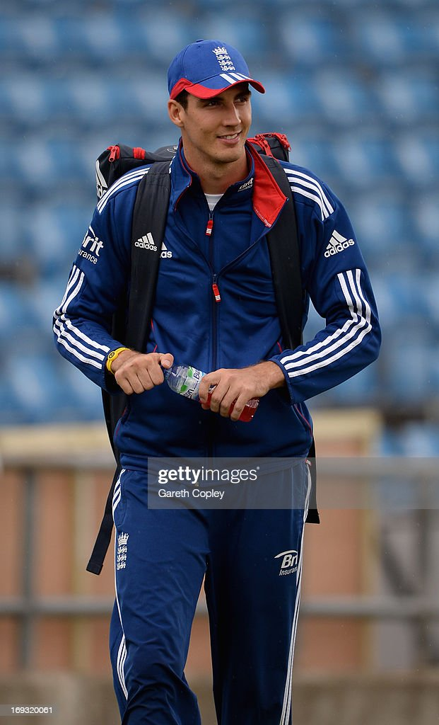 Steven Finn of England walks from the indoor school after a nets session at Headingley on May 23, 2013 in Leeds, England.