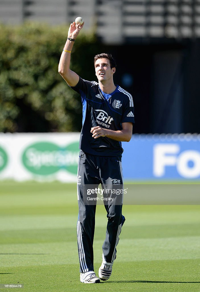 Steven Finn of England warms up ahead of a England nets session at Basin Reserve on February 14, 2013 in Wellington, New Zealand.