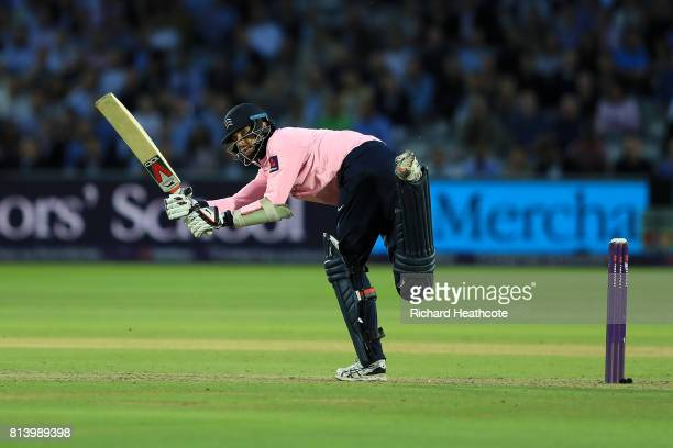 Steven Finn of Middlesex bats during the NatWest T20 Blast match between Middlesex and Surrey at Lord's Cricket Ground on July 13 2017 in London...