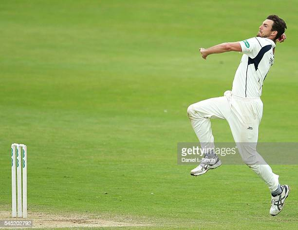Steven Finn of Middlesex bowls during day four of the Specsavers County Championship division one match between Yorkshire and Middlesex at North...