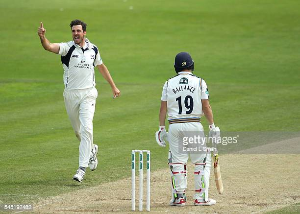 Steven Finn of Middlesex celebrates the dismissal of Gary Ballance of Yorkshire during day four of the Specsavers County Championship division one...
