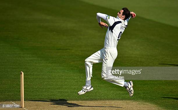 Steven Finn of Middlesex runs in to bowl during day one of the preseason friendly between Surrey and Middlesex at The Kia Oval on March 22 2016 in...