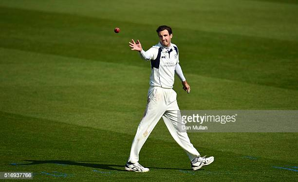 Steven Finn of Middlessex receives the ball during day one of the preseason friendly between Surrey and Middlesex at The Kia Oval on March 22 2016 in...