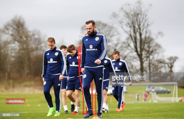 Steven Fletcher is seen during a training session at Mar Hall on March 23 2017 in Erskine Scotland