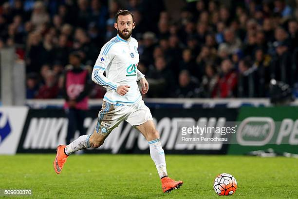 Steven Fletcher of Olympique de Marseille in action during the French Cup match between Trelissac FC and Olympique de Marseille at Stade ChabanDelmas...