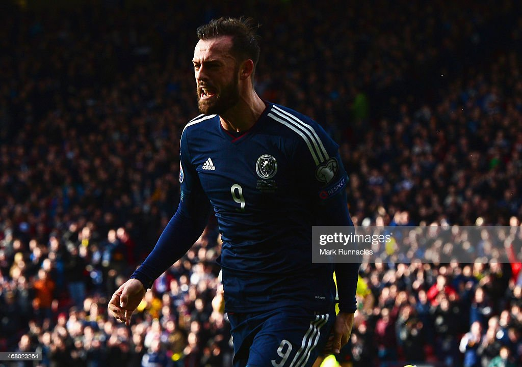 Steven Fletcher of Scotland celebrates scoring their second goal during the EURO 2016 Qualifier match between Scotland and Gibraltar at Hampden Park on March 29, 2015 in Glasgow, Scotland.